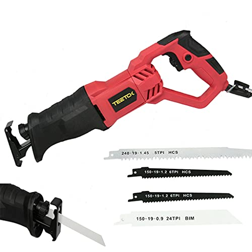 Powerful Tool 710W Reciprocating Saw 240V with Rotary Handle+/-180° Rotary Hand Held Reciprocating Electric Sabre Saw Variable Speed, Tool-Free Blade Change for Cut Wood, Plastic and Soft Metal