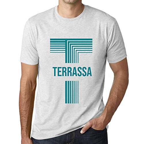 One in the City Hombre Camiseta Vintage T-Shirt Gráfico Letter T Countries and Cities TERRASSA Blanco Moteado