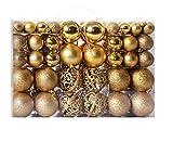 100 bolas de decoración de Navidad, decoración de árbol de Navidad, 3 – 6 cm, bola ligera, bola mate, bola rosa, bola hueca (dorada)