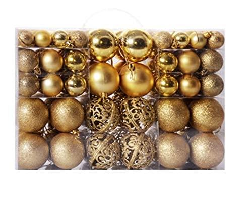 100 palline di Natale decorative, decorazioni per albero di Natale, 3-6 cm, sfera leggera, opaca, cava (Oro)