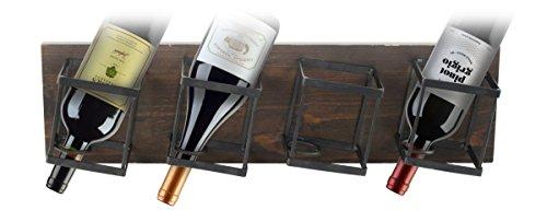 Design Mode 32-120LWD 22 in Wood Metal 4 Bottle Wall Mount Wine Storage Rack