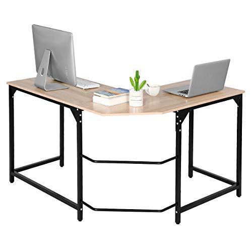 Aingoo Eckschreibtisch Moderne L-förmiger Schreibtisch Ecke Computer Schreibtisch Home Office Studie Workstation Holz & Stahl PC Laptop-Spieltisch (Beige)