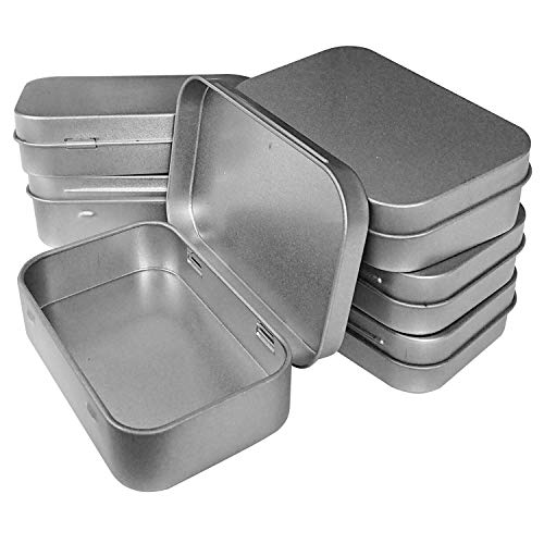 Hulless 12 Pcs Metal Hinged Tin Box Container Mini Portable Small Storage Container Kit Tin Box Container, Small Tin with Lid, Tin Empty Box, Home Storage 3.7x2.3x0.8 inch.