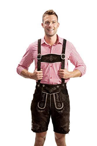 Bayerische Herren Trachten Lederhose kurz, Trachtenlederhose mit Trägern, original in Dunkelbraun, Oktoberfest, Größe 52