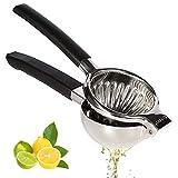 Zitronenpresse Edelstahl, große Zitronenpresse mit Griffen zum Entsaften von Orangen, Zitronen und Limetten