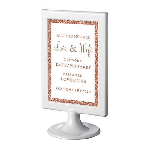 Andaz Press Framed Personalized Wedding Party Signs, Rose Gold Glitter, 4x6-inch, All You Need is Love and WiFi, Network, Password, Hashtag, 1-Pack, Copper Champagne Colored Decorations, Custom
