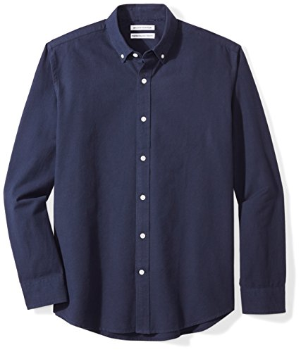 Amazon Essentials Long-Sleeve Solid Oxford Shirt Hemd, Navy, XX-Large