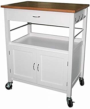 eHemco Kitchen Island Cart Butcher Block Natural Bamboo Top with White Base