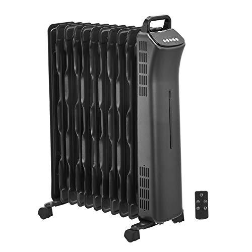 Amazon Basics Portable Oil-Filled Digital Radiator Heater with 11 Wavy ECO-Fins and Remote Control, 2500W, UK Plug- Black
