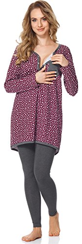 Bellivalini Premamá Pijama Conjunto Camiseta y Leggins Lactancia Maternidad Mujer BLV50-125 (Burdeos Estrellas/Grafito, L)