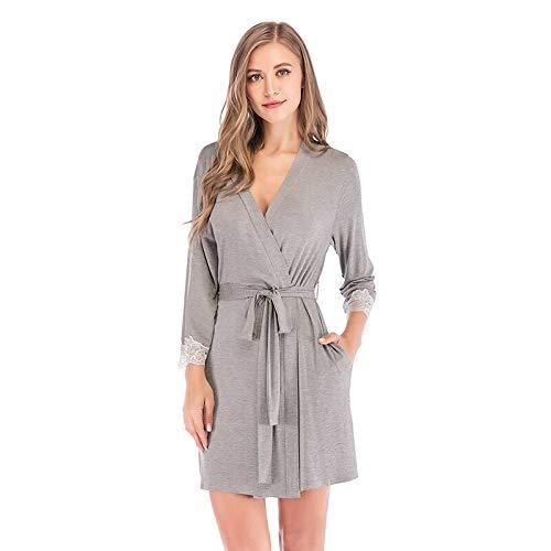 ROirEMJ Damen Bademantel,Sommer Frauen Grau Kimono Robe Boden Schlafbekleidung...