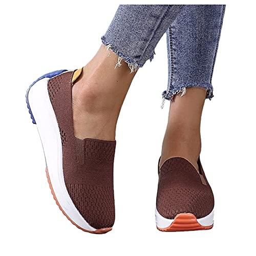 Briskorry Chaussures de marche pour femme - Confortables et respirantes - En maille - Avec semelle souple