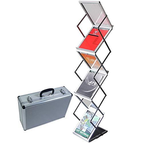 Liuxiaomiao Stojak na gazety, stojący, składany magazynek, katalog na prospekty, stojak na literaturę, pop-up, 6 kieszeni z torbą do noszenia do łazienki lub biura (kolor : srebrny, rozmiar: wysokość 145 cm)