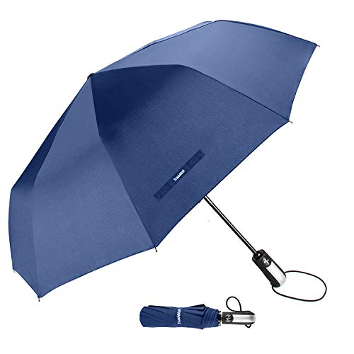 TradMall Travel Umbrella Windproof with 46 Inches Large Canopy 10 Reinforced Fiberglass Ribs Ergonomic Handle Auto Open & Close, Navy Blue