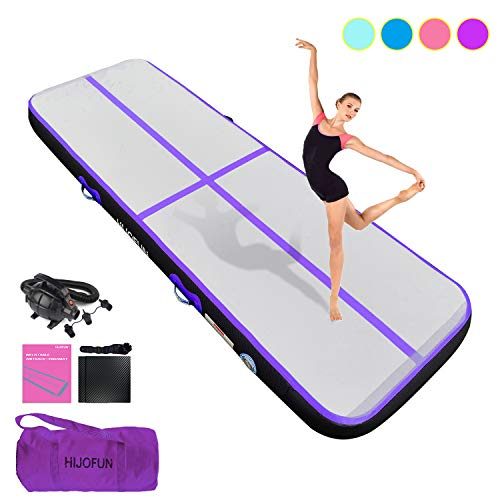 HIJOFUN Premium Air Track 10ftx3.3ftx8in Airtrack Gymnastics Tumbling Mat Inflatable Tumble Track with Electric Air Pump for Home Use/Gym/Yoga/Training/Cheerleading/Outdoor/Beach/Park Purple