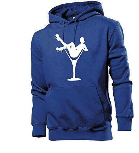 Generisch Frau im Glas 2.0 - Felpa da uomo con cappuccio blu royal XXXL