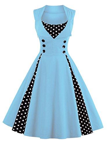 Axoe Vestido de los años 50 para mujer con lunares. Con lunares de color azul claro. XXXXXL