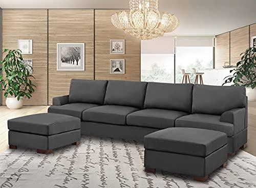 Limitless Home sofa set with footstools Harvey U Shape Plush Velvet (Charcoal)
