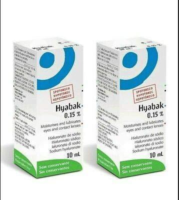 Hyabak Feuchtigkeits- und Schmierlösung für trockene Augen, 10 ml, 2 Stück