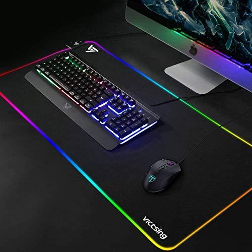 Gaming Mauspad RGB VicTsing 800*300 *4mm, 14 sehr helles Mouse pad Beleuchtungsmodi & 2 Helligkeitsstufen, XXL Mauspad rutschfeste wasserdichte Gummibasis, Tischunterlage mit genähte Kante(Schwarz)