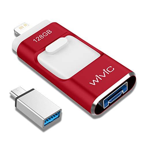 iPhone Photo Stick para iPhone 128GB Flash Drive Photostick para unidad de copia de seguridad Android OTG Smart Phone Memory Stick Almacenamiento USB 3.0 Flash Drive para dispositivo tipo-C rojo