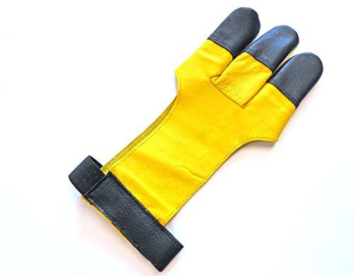 Calidad piel auténtica guantes de tiro con arco tradicional completo punta Shooting guantes.