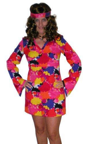 Ramona Lippert Hippiekleid, Hippie Kleid, Kleid 70 er Jahre Flower Power Gr. 36 - 40 (40, rot)