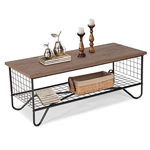 GOPLUS Table Basse à 2 Couches de Stockage Ouvert, Table D'appoint Industrielle, pour Salon, Chambre et Bureau, 105 x 50 x 42CM