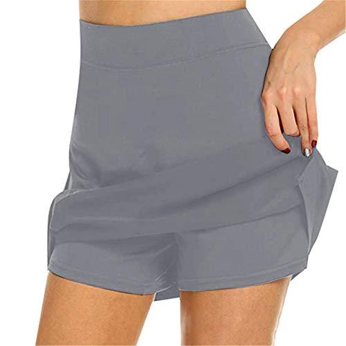 BHJKL Falda pantalón Activa Anti-Rozaduras, súper Suave, cómodo, de Cintura Alta, Adelgazante, Pantalones Deportivos Casuales para Correr, Tenis, Golf, Entrenamiento, Deportes Gris XL