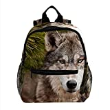 Mochila para niños Mochila lobo animal feroz Bolsa de viaje para guardería preescolar para...