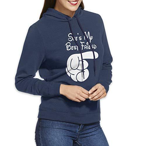 She's My Best Friend Long Sleeve Women's Hoodie Sweatshirt Drawstring Hooded Pullover Tops Blouses Navy XL