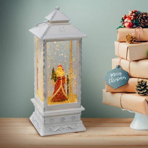 LOTTI Lanterna Babbo Natale Bianco Antico H27cm Glitter LED Bianco GL-LTS W105-275