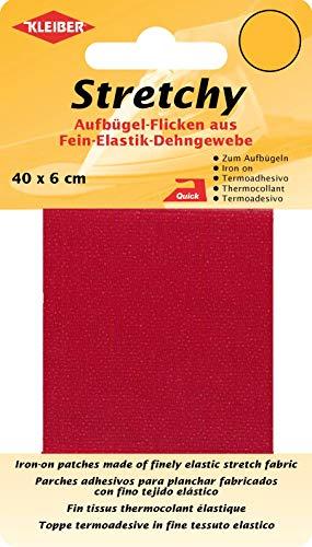 Kleiber 40 x 6 cm Elastisches Ausbesserungsband für Bekleidung zum Aufbügeln, rot