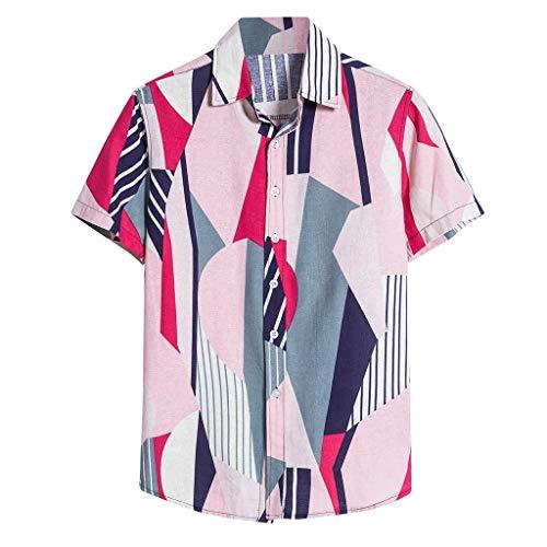 Preisvergleich Produktbild Anglewolf Herren Hemd Standard-fit Short-Sleeve Hawaiian Shirt Hawaiihemd Herren Funky Casual Kragen Brusttasche Kurzarm Freizeithemd Funky Hemd (B Rosa, 5XL)