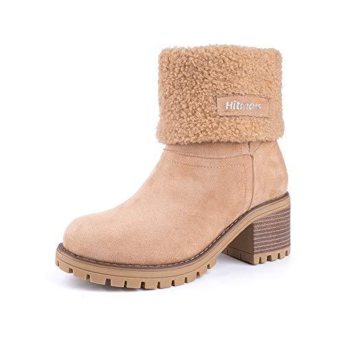 Damen Winterschuhe Schneestiefel Plateau Shorts Stiefel Chunky Heels Boots Stiefeletten Fell Bequeme Gefüttert Mode Schuhe 6 cm Khaki 40