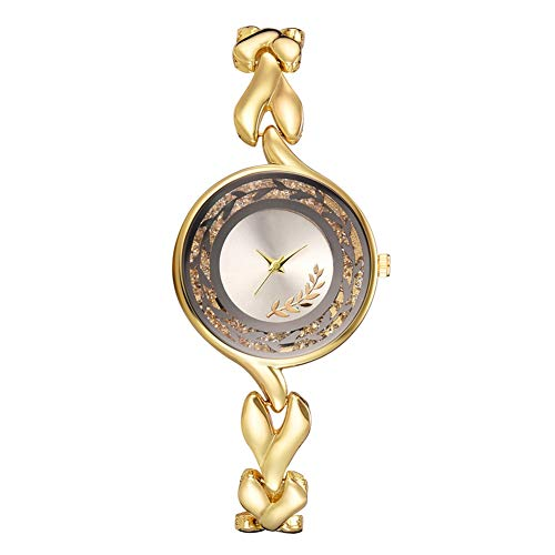 QYSZYG Reloj De Pulsera De Cuarzo con Hojas Impresas A La Moda para Mujer con Decoración De Diamantes De Imitación (Plata)