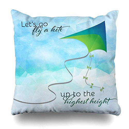 Lihaky Funda de Almohada Cuadrada 18x18 Pulgadas Let Go Fly A Kite Inspirado por Mary Poppins Funda de Almohada Decorativa Funda de Almohada