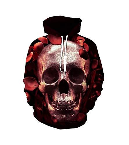Zaima Skull Head Sudaderas con Capucha para Hombre Sudaderas con Estampado 3D Novedad Streetwear Chaqueta De OtoñO con Capucha CháNdal Pareja Pullover SuéTer