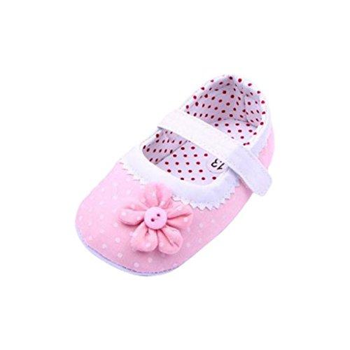 Chaussures de Bébé, LuckyGirls Semelle Douce Fleur Chaussures Premiers Pas Anti-Dérapante Chaussures pour Bambin Sneaker- Tissu Coton - 0~18 Mois (Âge: 0~6 Mois, Rose)