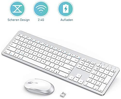 seenda Wiederaufladbare Tastatur Maus Set Kabellos(Full-Size), Ultra-Dünne Leise Tastatur und Maus, Ergonomische Tastatur Kabellos mit Silikon Staubschutz für PC/Laptop/Smart TV usw, Weiß und Silber