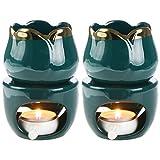 Bruciatori di olio essenziale a fusione di cera da 2 pezzi con cucchiaio di candela, diffusore di profumo per bruciatore di aromi in ceramica rimovibile per aromaterapia