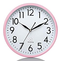 DreamSky 10 Inches Silent Wall Clock, Battery Operated, Non-Ticking Decorative Indoor Kitchen Round Clock, 3D Numbers Display, Nice Pink Quiet Wall Clock for Kids/Girls/Nursery Room.