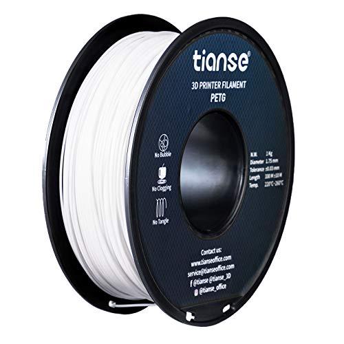 TIANSE Bianco 1,75 mm PETG 3D Filamento Precisione dimensionale +/- 0,03 mm Bobina da 2,2 libbre