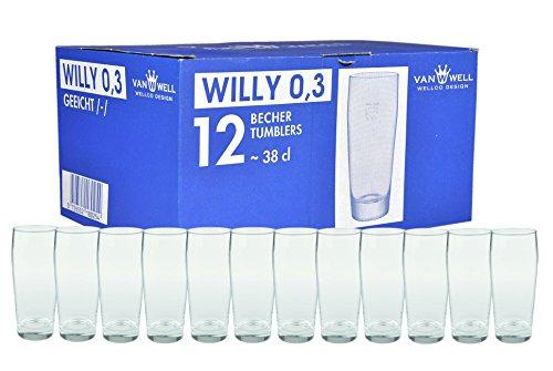 Van Well 12er Set Biergläser Willibecher 0,3L geeicht | Bierglas perfekt geeignet für Gastronomie