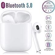 SUKIKKY Auriculares inalámbricos Bluetooth 5.0, micrófono Incorporado y Caja de Carga, reducción de Ruido estéreo 3D HD, adecuados para Auriculares Android/iPhone/Samsung/Huawei
