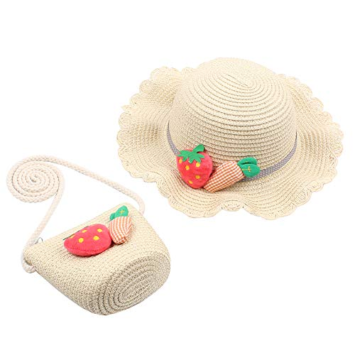 TININNA Prinzessin Strohhut Baby Mädchen Sonnenhut Sommerhut Gewebte Umhängetasche Kinder Sommer Stroh Strandhut Messenger Bag Handtasche Set