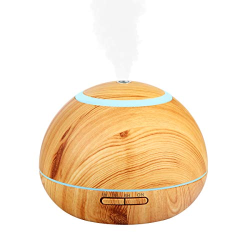 Essential Oil Diffuser, 300ml Wood Grain Aromatherapy Diffuser, 7 Colors Night Light, 3 time Setting Modes, Mini Aroma Humidifier with Adjustable Mist Mode, Best for Home, Bedroom