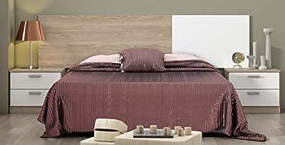 Cabezal de 208 cm, y 2 mesitas con dos cajones de 50 cm de ancho. Una combinación idónea, clásica y con una de las combinaciones más estables para cualquier habitación. Blanco y Sable, colores acogedores y tranquilos que te ayudaran a alcanzar la rel...
