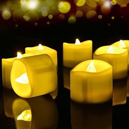 LED Vela sin Llama, [12 PCS] Luces de Té Led, Velas LED de Té Efecto Llama con...