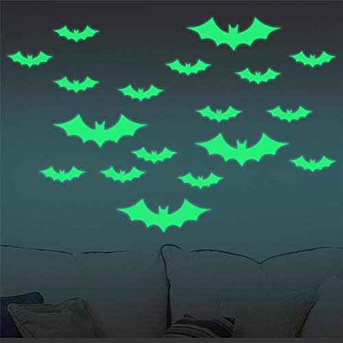HBIAO Autocollants Lumineux, Ultra Brighter Bat Wall Decor Kids Bedroom Decoration for Bedroom Or Party Christmas Birthday Gift 2 Sheet